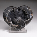 Genuine Agate Druzy Crystal Cluster Heart + Acrylic Display Stand // V7