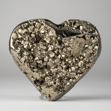 Genuine Polished Pyrite Heart + Acrylic Display Stand // V2