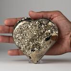Genuine Polished Pyrite Heart + Acrylic Display Stand // V1