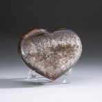 Genuine Agate and Quartz Crystal Cluster Heart+ Acrylic Display Stand // V2