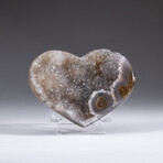 Genuine Agate and Quartz Crystal Cluster Heart+ Acrylic Display Stand // V1