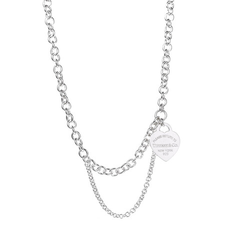 """Ladies Sterling Silver Double Chain Heart Tag Necklace // 17"""" // New"""