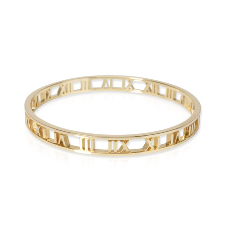 "Ladies 18k Yellow Gold Roman Numeral Bangle Bracelet // 7.5"" // New"