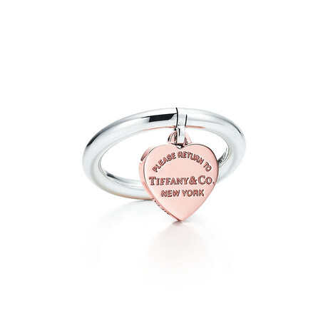 Ladies Sterling Silver Pink Heart Tag Ring // Ring Size: 7 // New