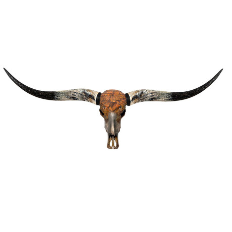 Carved Horns Longhorn Skull // Rusted Flame // Metallic Finish