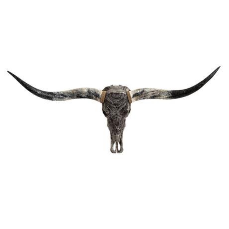 Carved Horns Longhorn Skull // Gray Boho