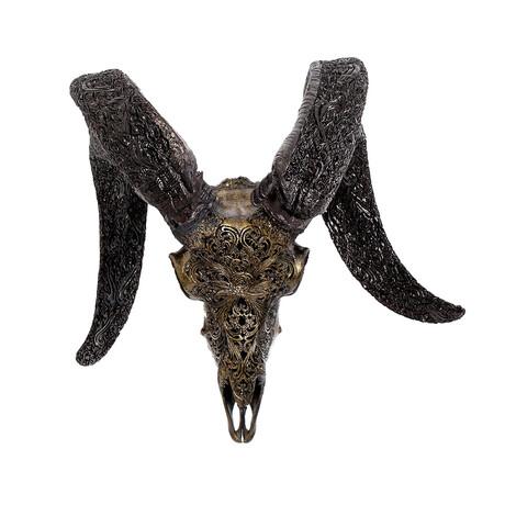 Carved Horns Ram Skull // Predator // Metallic Finish