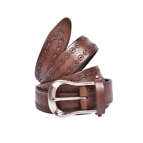 """Brunello Cucinelli // Leather Belt // Brown (39"""")"""