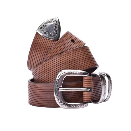 """Brunello Cucinelli // Leather Belt // Brown (33"""")"""