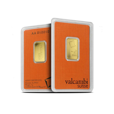 5 gram Gold Bar - Valcambi Design // Deluxe Collector's Pouch