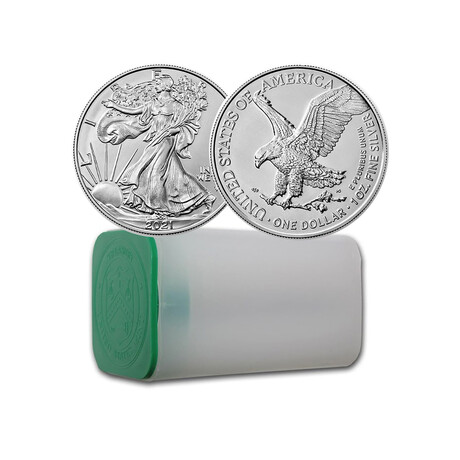 2021 1 oz American Silver Eagle // Type 2 // Original Mint Roll of 20 // Deluxe Collector's Pouch
