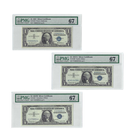 1957 A,B Series $1 Small Size Silver Certificate Three Piece Set // PMG Certified 67 GEM UNC