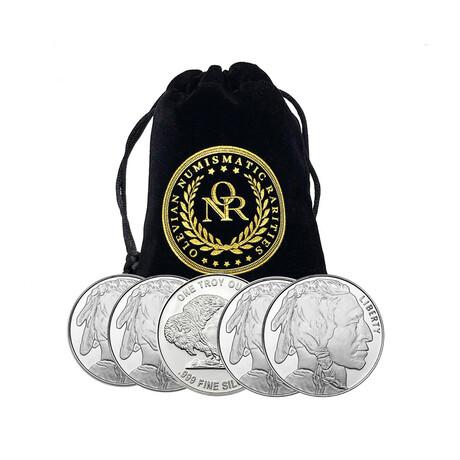1 oz Silver Round - Buffalo Design // Set of 5 // Deluxe Collector's Pouch