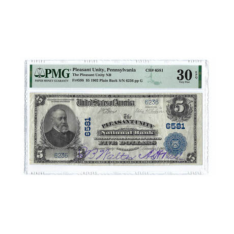 1902 $5 Large Size National Bank Note // Pleasant Unity, PA // PMG Certified Very Fine 30 EPQ Condition