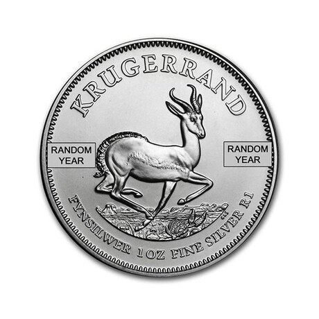 1 oz South African Krugerrand Silver Coin - Year Varies // Mint State // Deluxe Collector's Pouch