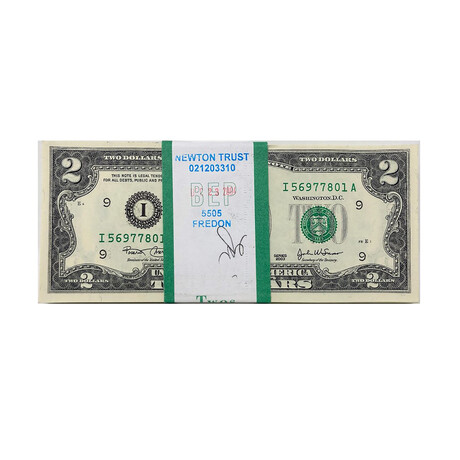 2003 $2 Small Size Federal Reserve Notes // BEP Pack $200 Sequential Serial No. // Uncirculated