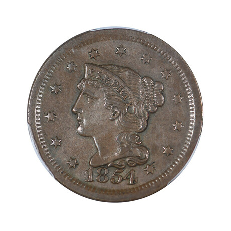 1854 Braided Hair Large Cent // PCGS Certified AU55 // Wood Presentation Box