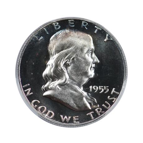1955 U.S. Franklin Silver Half Dollar // PCGS PR68 // Wood Presentation Box