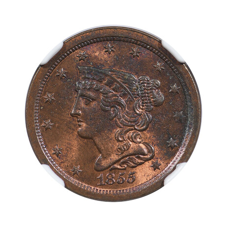1855 Braided Hair Half Cent // NGC Certified MS64RB // Wood Presentation Box