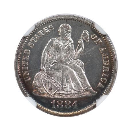 1884 U.S. Seated Liberty Dime // NGC Certified PF66 CAMEO // Wood Presentation Box