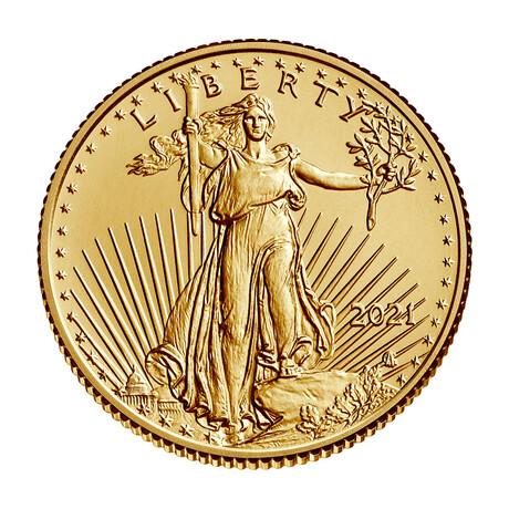 2021 1/10 oz American Gold Eagle (22 karat) // Type 2 // Mint State Condition // Wood Presentation Box