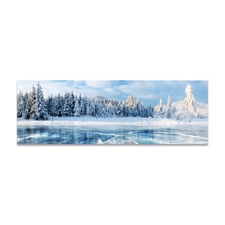 "Cracking Frozen Lake & Trees (16""H x 48""W x 0.5""D)"