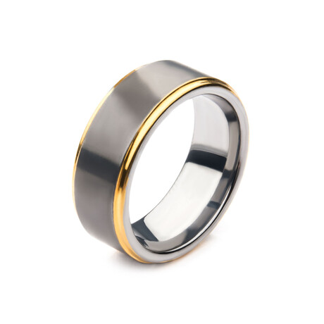 Edge Ring // Silver + Gold (Size 9)