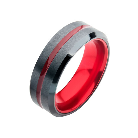 Aluminum Inlay Ring // Black + Red (Size 9)
