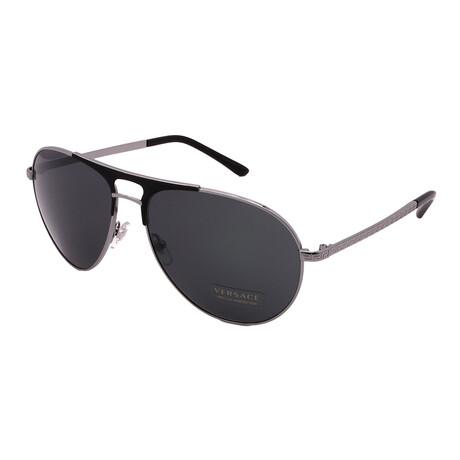Versace // Men's E2164-100187 Aviator Sunglasses // Gunmetal + Matte Black + Dark Gray