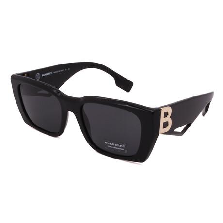 Burberry // Unisex BE4336-387887 Rectangular Sunglasses // Black + Dark Grigio