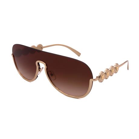 Versace // Unisex VE2215-100213 Pilot Half Frame Sunglasses // Gold + Brown