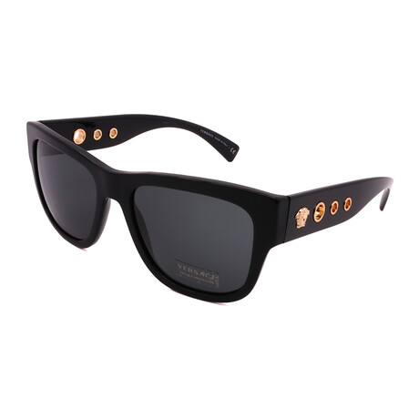 Versace // Men's VE4319-GB187 Square Sunglasses // Black + Dark Gray