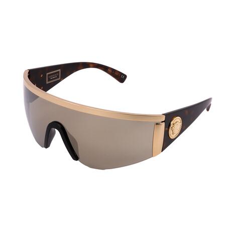 Versace // Unisex VE2197-10005A Irregular Sunglasses // Gold + Light Brown + Mirror Gold
