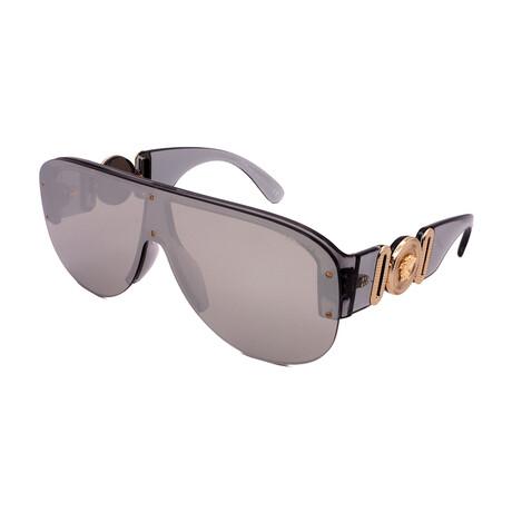 Versace // Unisex VE4391-3116G Semi Rimless Sunglasses // Transparent Gray + Light Silver Mirror