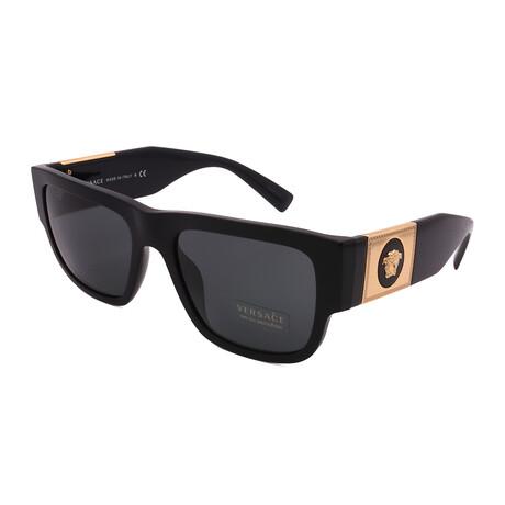 Versace // Men's VE4406-GB187 Rectangular Sunglasses // Black + Dark Gray