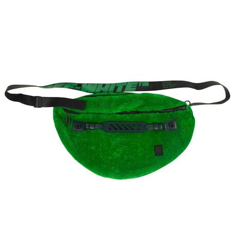 Green Furry 'Logo' Crossbody Bum Bag