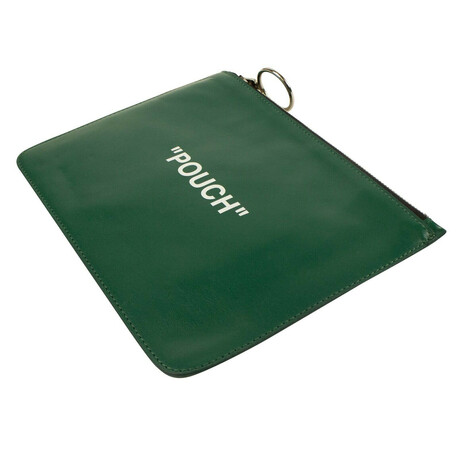 """Green Leather """"Pouch"""" Flat Pouch Bag"""
