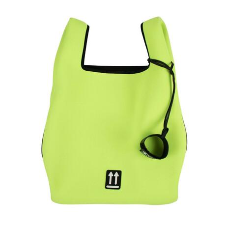 Fluorescent Yellow Flat Shopper Tote Bag