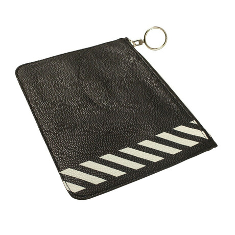 Black Leather Striped Small Clutch Bag