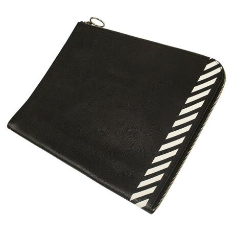 Black Leather Striped Clutch Bag