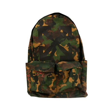 Green Camouflage Print Backpack