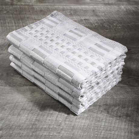 Organic Cotton Kitchen Towel Set // Set of 4 // White + Beige