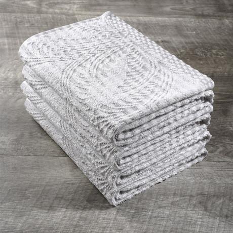 Organic Cotton Kitchen Towel Set // Set of 4 // White + Tan
