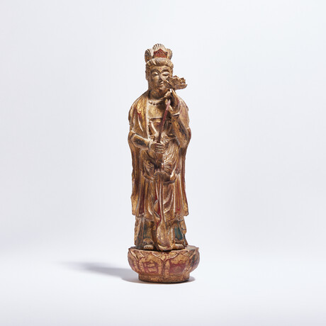 Antique Chinese Gilded Wood Quan Yin // Bodhisattva of Compassion