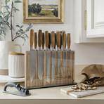 Zebra Wood Knives + Block // 15-Piece Set