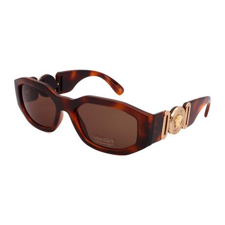 Versace // Men's VE4361-521773 Irregular Sunglasses // Havana + Gold