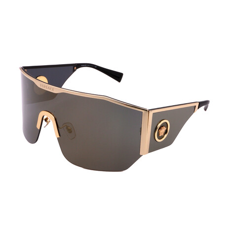 Versace // Unisex VE2220-10025A Irregular Sunglasses // Gold + Gray + Black