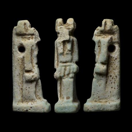Egyptian Faience Amulet Of Anubis // Jackal-headed God of the Underworld