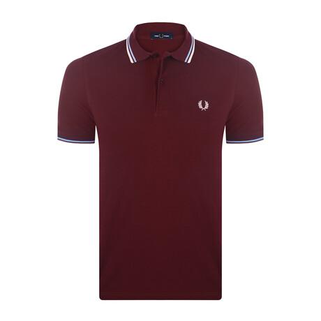 Tipped Polo Shirt // Mahogany + Sky + Natural (S)