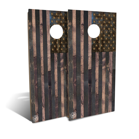 Rustic Wood + American Flag // Cornhole Board Set
